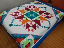 Queen size  machine pieced and quilted  Patchwork quilt / #NJ-80