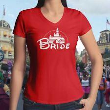 Bride Disney Disneyland Castle Wedding Couple Womens Juniors V-Neck Tee T-Shirt