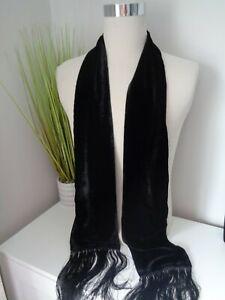 BNWT Hugo Boss Laisha Black Silk Blend Velvet Scarf