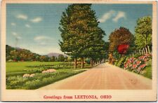 postcard Ohio - Greetings from Leetonia -  country road  - NYCE