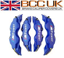 BIG BLUE Brake Caliper Covers Kit White M Power Logo Front Rear 4x L+M fits BMW