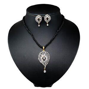 Black Bids CZ Pendant Necklace Earring Set 14 MN 6