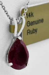 GENUINE 2.08 Cts  RUBY PENDANT 14K WHITE GOLD * Free Appraisal Service