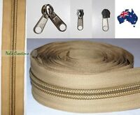 No 10 Beige Heavy Duty Sewing on Tent, Bag Camping Continuous Zipper, Zip Meter