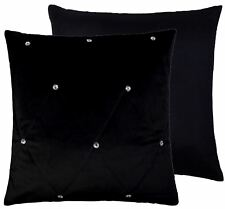 """FILLED QUILTED CLEAR DIAMANTE VELVET BLACK 18"""" - 45CM CUSHION"""