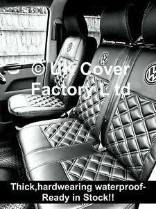VAN SEAT COVERS FOR A T5 T6 TRANSPORTER VAN PREMIUM GREY BENTLEY STITCH A1VW