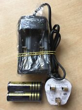 2 X 18650 4000mah Ultrafire 3.7v Rechargeable Batteries + Twin Charger UK Plug