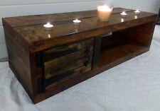 90cm Chunky Rustic Pine LCD Plasma TV Stand Unit Cabinet Table Dark Oak