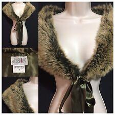 Vintage 1990s Y2K AUX FUR Collar Shawl Satin Tie Evening Peaky Blinders Downton