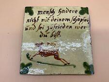 ANTIKE BIEDERMEIER KACHEL BAUERN-FLIESE 19-TES JHDT KERAMIK MENSCH HADERE NICHT
