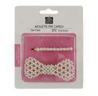 Confezione 2 Mollette Per Capelli Hair Clips Con Perline Donna Ragazza 65672 dfh