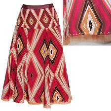 MONSOON Red White Ikat Print Silky 8 Panels Embellished Hem Skirt UK 12 EU 40