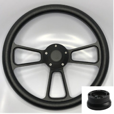 "14"" Black Billet Steering Wheel (Black Half Wrap, Horn Button, Hub Adapter A02)"