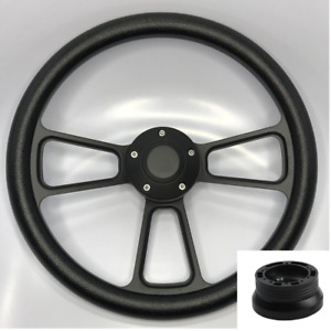"14"" Black Billet Steering Wheel (Black Wrap, Horn Button, Hub Adapter A02)"