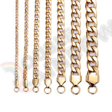 Men Women's Stainless Steel Necklace Gold Cuban 3-12mm Chain 18-36