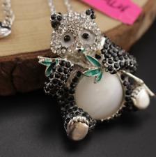 Pendant Jewelry Betsy Johnson Enamel Rhinestone panda Silver Chain necklace