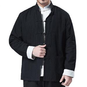 Men Traditional Chinese Tang Suit Jacket Coat Tops Kung Fu Martial Arts Uniform