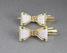 Gold silver sparkly bow metal side alligator gator clip hair claw set of 2