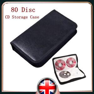 UK STOCK 80 Disc CD-DVD Disc Carry Case Holder Wallet Storage Ring Binder Folder