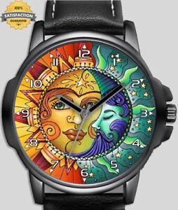 Sun and  Moon Stylish Rare Beautiful Unique Wrist Watch FAST UK