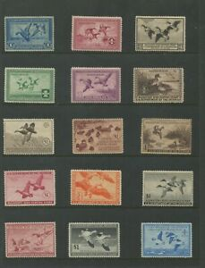 United States Federal Hunting Duck Stamps #RW1-RW60 Mint Lightly Hinged VF Set