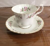Vintage Royal Albert Bone China England Tea Cup Saucer White Purple Pink Floral