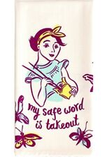 Blue Q Screen Printed Cotton Kitchen Dish Towel - My Safe Word Is Takeout