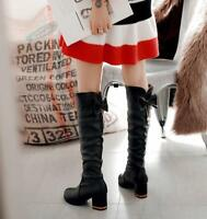 Womens Round Toe Knee High Boots Block High Heel Patent Leather Shoes Bows Sbox1