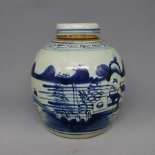 Chinese Old Blue and White Landscape Pattern Porcelain Lid Jar a2004