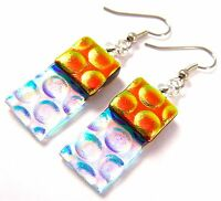 """DICHROIC Glass EARRINGS Orange Gold & Clear Rectangle Bubbles Dangle Surgical 1"""""""