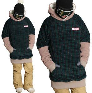 20-21 New December long tall hoodie ski snowboard zipper-POP RETRO CHECK GREEN