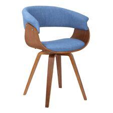 Armen Living Summer Mid-Century Chair, Blue/Walnut Wood Finish - LCSUCHBLUE