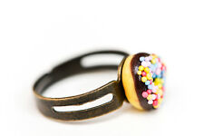 Chocolate Donut /  Doughnut - with sprinkles ring - Kawaii Kitsch