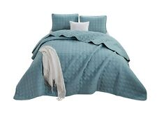 Chezmoi Collection Plano 3pc Geometric Embossed Oversized Bedspread Coverlet Set