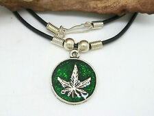 Hemp Leaf Cannabis Chain Pendant Necklace Green Hemp Rasta Reggae