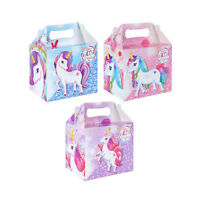 6 x Party Lunch Box Unicorn Party PINK HOT Takeaway Loot Bag Favours GIFT GIRLS