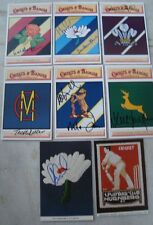 8 old vintage color Crust & Badges First Class Cricket Clubs picture post cards