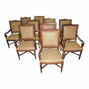 Set of 10 Vintage Leather Board Room Arm Chairs