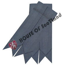 Men's Highland Dress Kilt Hose Socks Flashes  Grey Tartan Acrylic Wool Garter