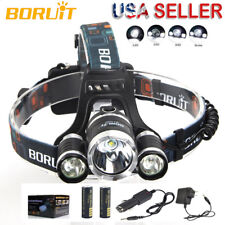 Boruit 12000Lm 3X XML T6 LED Headlamp Head Light Torch USB 18650 Car Charger