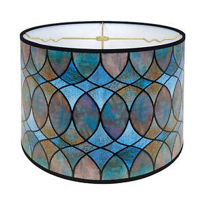 Decorative Handmade Lamp Shade - Made in USA - Cool Hues Watercolor Design