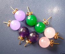 LOTS 4 Pairs Multicolor 10mm Jade Round Beads Stud Earrings