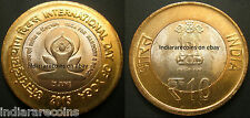 India Bimetallic BIMETAL International Yoga Day Coin 10 Rs Unc NEW 2015