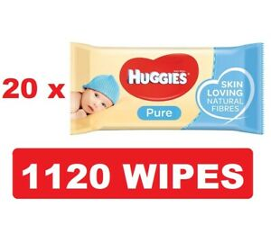Huggies Pure Baby Wipes 20 Packs (1120 Wipes Total) FREE TRACKED DELIVERY