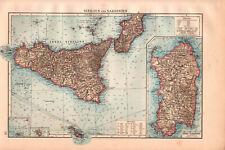 Antique BIG SIZE map. ITALY. SICILIA & SARDINIA. 1895