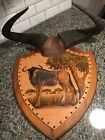 Blue Wildebeest Skull Horn Mount On Embossed Leather Plaque By W. Jansen - COOL