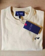 Men's Armani Jeans Crew Neck Jumper Sweater Long Sleeve Beige Size XXL RRP £170