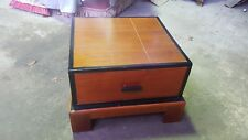 Solid Wood Colour Dark Wood & Black Paint Coffee Table with Draw