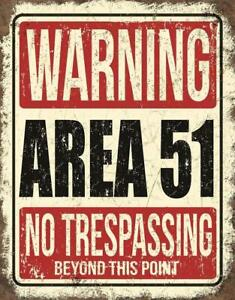 WARNING Area 51 No Trespassing Tin Metal Sign, MADE IN USA Alien UFO Decor Repro