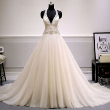 New White/Ivory A-Line Tulle Wedding Dress Bridal Gowns Custom 2 4 6 8 10 12 14+
